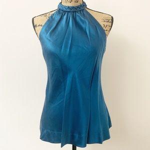 Banana Republic Silk Teal Blue Sleeveless blouse 6